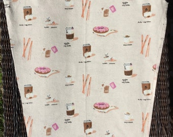 SALE : Heather Ross Munki Munki PJ sleeve panel Flannel Coffee & Donuts