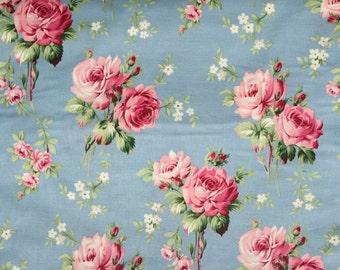 Barefoot Roses Tanya Whelan stemmed roses blue/gray Free Spirit fabrics  FQ or more