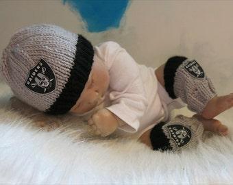 READY Oakland Raiders Baby BOY Beanie, Baby Boy Sports, Raiders Baby Boy, Baby Raiders Hat, Gray Grey Baby Hat, Baby Leg Warmers Sports