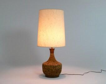 Mid Century Modern Large Cork // Wood Table Lamp