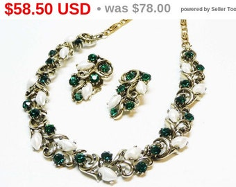 Lisner Green & White Rhinestone Necklace and Earring Set - Rhinestones and Baby Tooth Stones - Designer Signed Jewelry