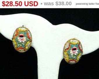 Vintage Italian Mosaic Earrings - Oval Clip on's - Rose Flower Design - Mid Century European Jewelry Signed