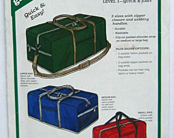 Quick & Easy Duffle or Gym Bag in 3 Sizes, Green Pepper F891 Sewing Pattern