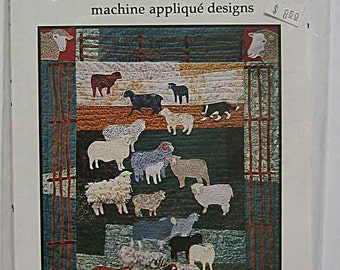 Woolly Sheep Quilt Pattern #9803 Sheep, Fence, Border Collie Designs for Machine Applique by Debora Konchinsky of Critter Pattern Works UC