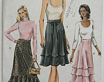 Misses' Easy Tiered Skirts, Flounce, Vogue 7972 Sewing Pattern UNCUT Sizes 8-10-12