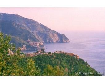 Fine Art Color Landscape Photography of a View of Corniglia Along the Cinque Terre Coastline in Italy