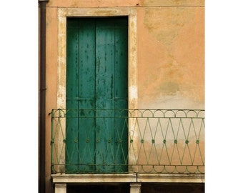 "Fine Art Color  Architecture Photography of Shutters - ""Green Shutters and Balcony in Padua"" (Italy)"