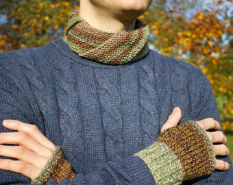 Granola Nuzzler & Fingerless Mittens Set - Brown Unisex Fingerless Mittens with Natural Coloured Circle Scarf - Men's Gloves and Scarf Set
