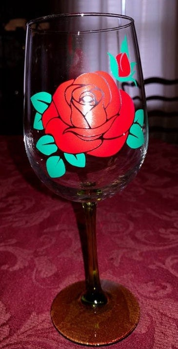 Rose Svg Cutting File For Wine Glasses Make Your Own