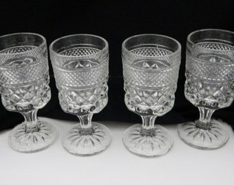 Wexford Anchor Hocking Stemmed Juice / Wine / Cordial Glasses Goblets Lot of 4