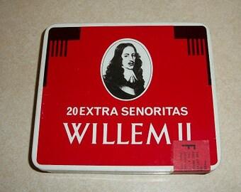 Vintage Like New Willem II 20 Extra Senoritas Tin Cigar Box Empty