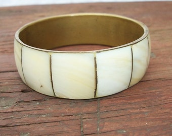 Vintage Beautiful Mother of Pearl and Brass Bangle Bracelet