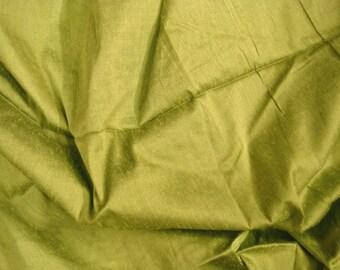silk fabric - olive green 100% pure silk - fat quarter sld079