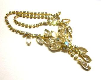 Vintage Rhinestone Juliana Delizza Elster Necklace Sparkling Clear Wedding Necklace
