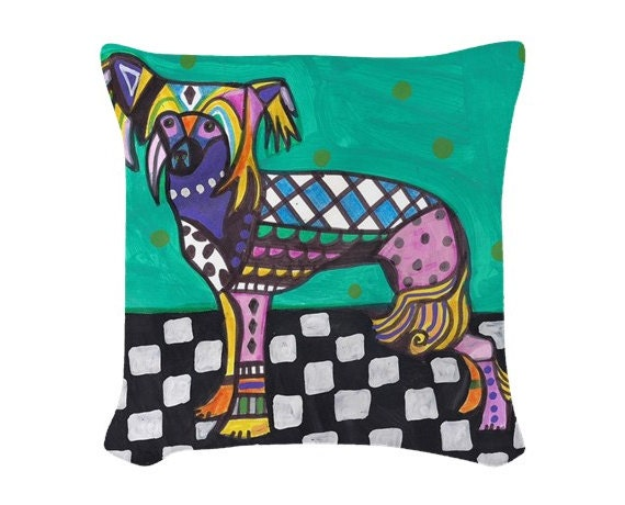 Chinese Crested Dog Art Pillow Modern Abstract Folk Art