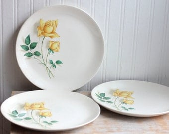 3 Simplicity Yellow Rose Pattern Vintage Plates, Shabby Chic Dinner Plates, Cottage Style Kitchenware,