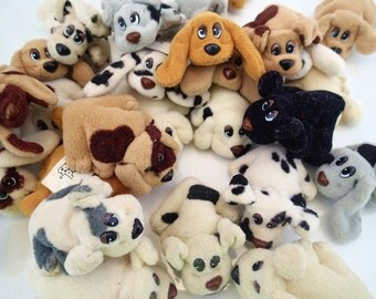 Galoob Pound Puppies Puppy Dog Lot of 29 Mini Plush Brown Tan Gray White black Cream Vintage Miniature Mini Tiny Farm Animal 90s