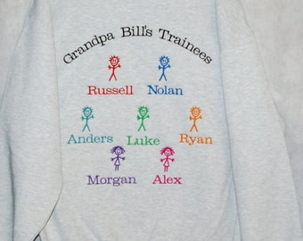 Grandpa Sweatshirt, Custom Gift, Personalize With Seven Kid Names, Papa, Pappaw, Pops, PopPop, Gramp, No Shipping Fee, Ships T0DAY, AGFT 395