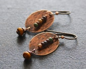 Oval Textured Copper Earrings, Mustard Yellow Earrings, Czech Glass Earrings, Boho Copper Earrings