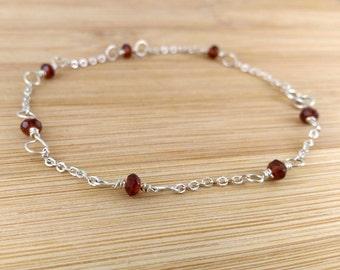 Red Garnet Gemstone Bracelet Sterling Silver Wire Wrapped Delicate Birthstone Bracelet.