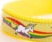 Magical Unicorns Dog Collar, Yellow Dog Collar, Rainbow Pet Collar, Girl Adjustable Ribbon Collar