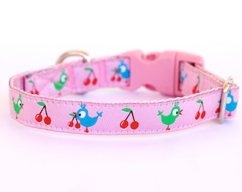 Pink Cherry Chicks Dog Cat Collar, Pink Collar, Teacup, Kitty Cat, 1/2 inch width, Puppy