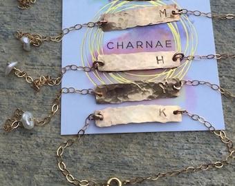 Gold bar initial bracelet. Hammered gold fill, adjustable