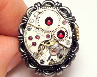Steampunk Ring, Vintage Ruby Jeweled, Working Watch Movement, Red Swarovski Crystals, Adjustable Size, Steam Punk Goth, OOAK
