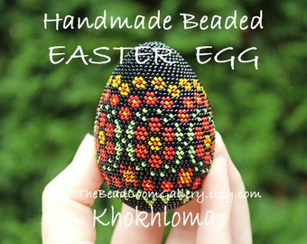 Handmade Beaded Easter Egg - Khokhloma