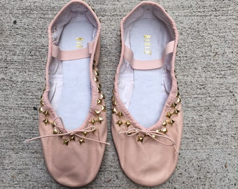 Hand studded leather ballet shoes