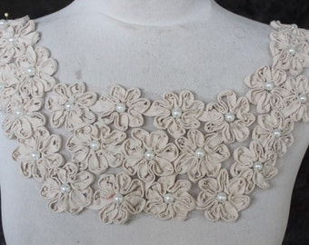 Cute embroidered and beaded flower applique ivory color 1 pieces listing 19 inches long from shoulder to shoulder