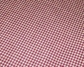On Sale Burgundy And Cream Mini Checked Homespun Fabric For Your Crafting Needs 1/2 yard