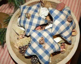 Holiday Special Blue Homespun Checked-Primitive Star Homespun Ornies-Set Of 3-FAAP