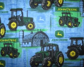 JOHN DEERE, Cotton Fabric, Fat Quarter, Fabric, Blue, Tractor, Logo, Fat Quarter, FQ, 17.5 X 21.5, scrap, remnant