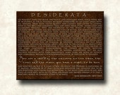DESIDERATA - Contemporary Print - Chocolate Brown Cafe Mount 11x14 Motivational