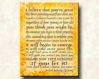 The Secret - I Believe that you're Great - 11x14 Word Art Print - Michael Beckwith quote - ready to frame.