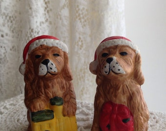Vintage Holiday Golden Retrievers Set of 2 Bisque/Ceramic 1980's wearing Red Hats Shelf Sitter/Ornament