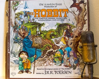"The Hobbit JRR Tolkien Vinyl Record Albums LPs 1970s Childrens Fantasy Hipster 2Lp Box ""The Hobbit"" (1977 Vista w/""Riddles With Gollum"")"