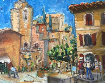 Scene in Roussillon original painting on canvas panel 12x16""