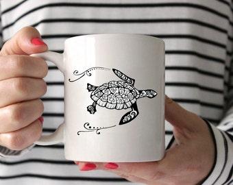 Sea Turtle Zentangle Drawing Coffee Mug