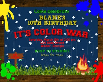 Paint Ball Invitation Color War Invitation-Digital File