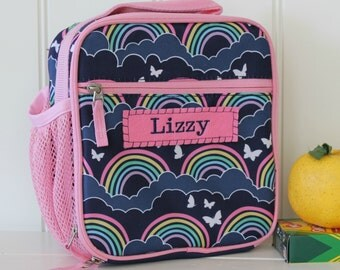 Lunch Bag With Monogram Classic Style Pottery Barn -- Navy/Pink Rainbow