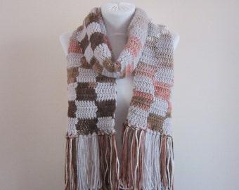Fringed Crochet Chunky Scarf, Extra Long Plaid Scarves, Soft Foulard, Crocheted Shawl, Women Wrap, Neck Accessories, Neckwarmer, Brown Cream
