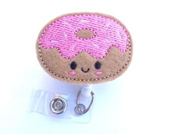 Badge reel id holder Retractable badge holder - nurse badge reel - Donut Time - tan felt doughnut with pink - medical badge reel