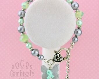 genetic disorder awareness bracelet, genetic disorder gifts, gentic disorder awareness, mint awareness bracelet