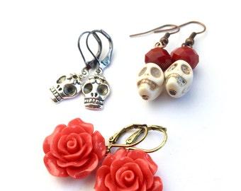 Day of the Dead Earring Set, Sugar Skull Earring Set, Red Rose Earrings, Sugar Skulls, Day of the Dead, Dia De Los Muertos, Skull Jewelry