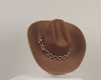 70s vintage brown cowboy hat western cattleman wide brim tall woven fabric hat southwestern