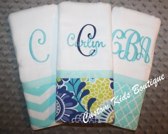 Blue Floral Baby Girl Burp Cloth Gift Set- Set of 3 Custom Monogrammed Burp Cloths