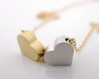 Small Heart Necklace, Two hearts necklace, dainty heart jewelry, minimalist  gold silver, everyday love, gold filled chain, by balance9