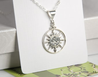 Compass necklace, sterling silver compass necklace, entirely made with sterling silver, 0.925 silver, everyday dainty jewelry, wedding
